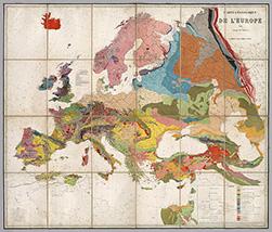 Γεωολογικός χάρτης της Ευρώπης από το 1875 από τον Βέλγο Γεωλόγο André Dumont.