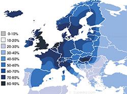 Χάρτης ατομοκρατίας (ατομικισμού) της Ευρώπης βασισμένος στη θεωρία του κοινωνικού ψυχολόγου Geert Hofstede, όπου το χρώμα κάθε περιοχής αντιστοιχεί στο βαθμό της πίστης πως το συμφέρον του ατόμου οφείλει να προηγείται του κράτους ή μιας κοινωνικής ομάδας. Η Ανθρωπογεογραφία με την ανάλυση των δεδομένων αυτών, μπορεί να κάνει προβλέψεις για την ανάδειξη ιδεολογικών πόλων στην Ευρωπαϊκή Ένωση, ή για να προβλέψει την ανθεκτικότητα πολιτικών συμμαχιών κομμάτων στην Ιταλία.
