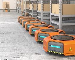 Ρομπότ τοποθετούν αυτόματα εμπορεύματα στα ράφια αποθήκης στο Λος Άντζελες των ΗΠΑ. Η χρήση τεχνολογίας στην εφοδιαστική μειώνει σημαντικά το λειτουργικό κόστος εταιριών καθιστώντας τες περισσότερο ανταγωνιστικές.