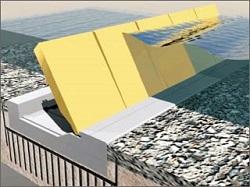 Σχηματικό διάγραμμα μέρους του νέου παλιρροιακού φράγματος της Βενετίας (project MOSE). Χρειάστηκε δεκαετίες να ωριμάσει ως ιδέα και να κατασκευαστεί με κόστος περίπου 6 δις Ευρώ, δηλαδή όσο 6-7 γέφυρες Ρίου-Αντιρίου. Θεωρείται από τα πλέον πολύπλοκα σύγχρονα κατασκευαστικά έργα.